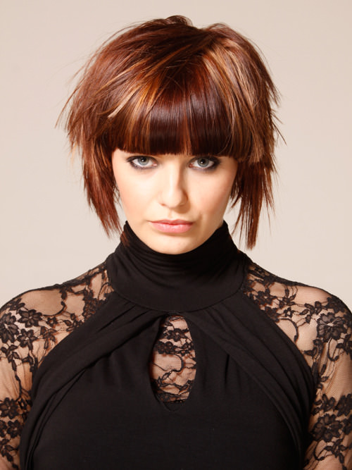 Brunette Streaked Bob with Bangs