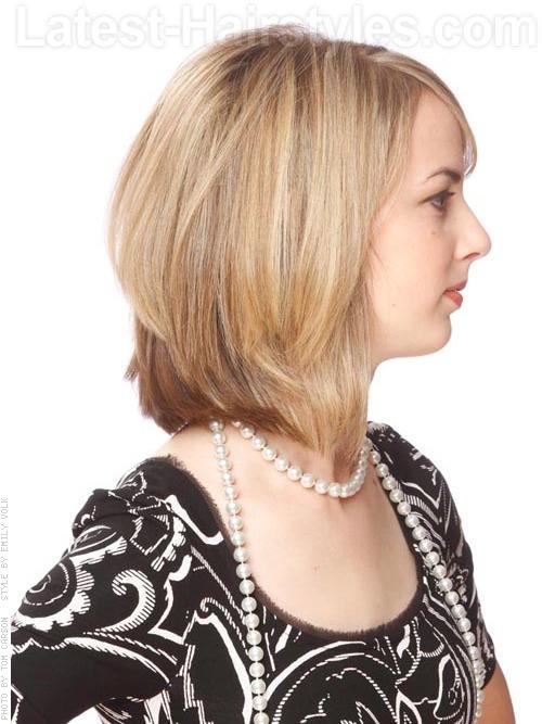 demure angled bob hair