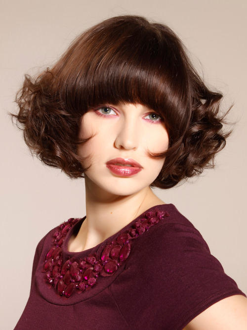 Full Curly Lush Bob with Bangs