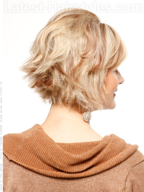 Layered Flipped Short Cut with Volume at Crown Back View