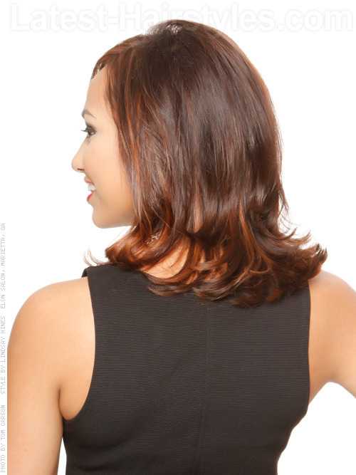 Medium Haircut With Waves Back View