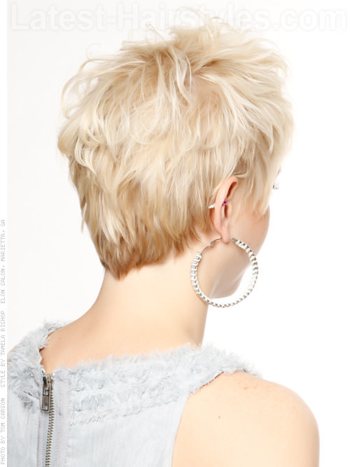 Messy Maven Blonde Cut Short Style Back View