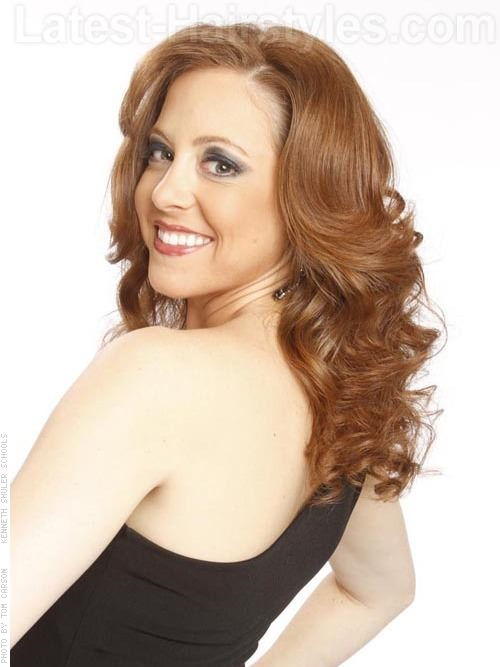 Perky Auburn Wavy Layered Style Side View