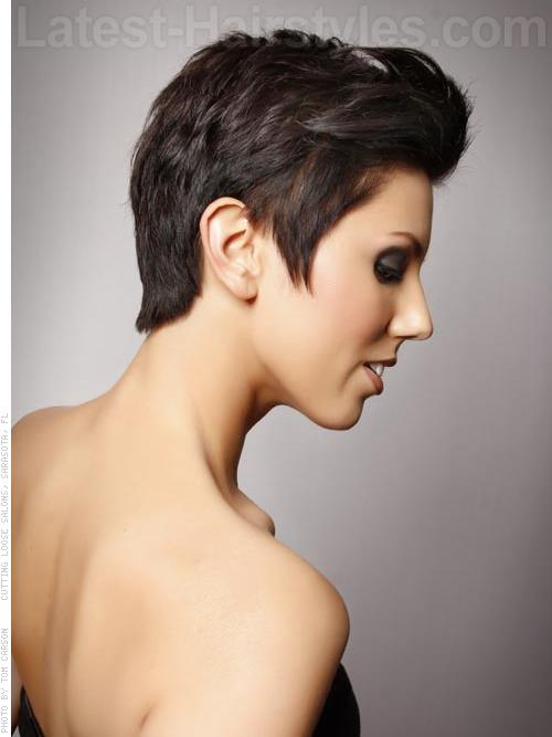 Short Pixie Haircut with a Side Part Side View