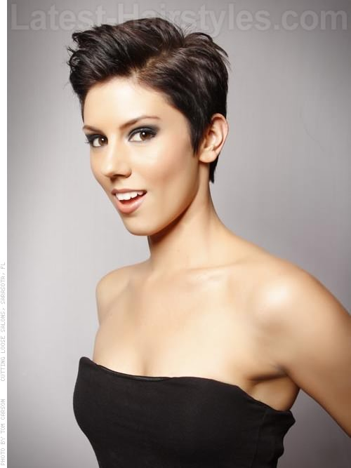 Short Pixie Haircut with a Side Part