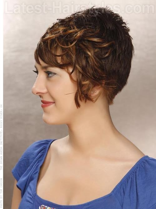 Short and Stacked Wavy Cut Side View