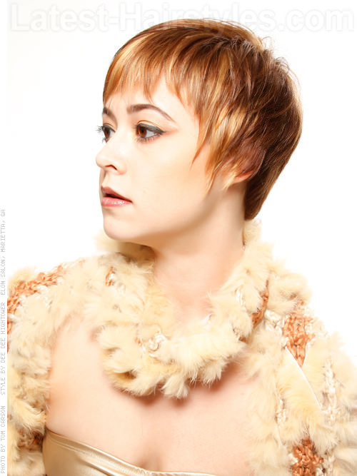 Textured Temptress Highlighted Short Pixie Haircut Side View