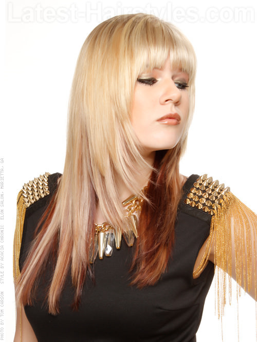 The Two Tone Long Fringey Haircut Side View