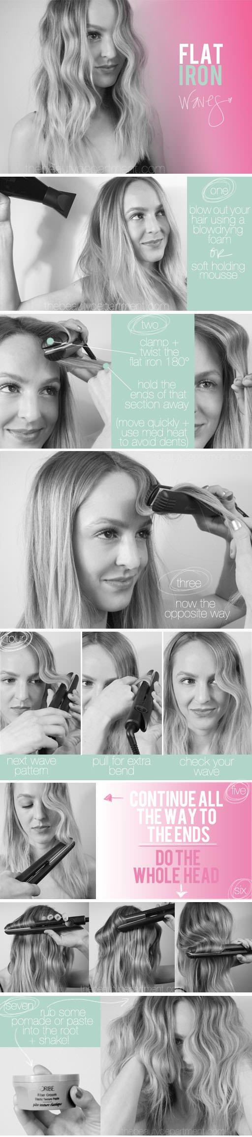 flat iron wavy hair