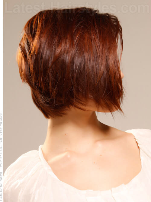 Rounded Texture Smooth choppy Bob Side View