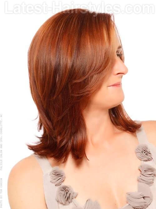 Soft Cinnamon Red Hair Side View