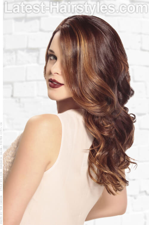 Brunette Haircolor with Caramel Highlights Side View