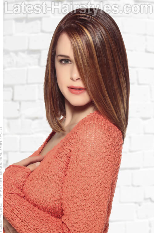Brunette Haircolor with Front Highlights Side View