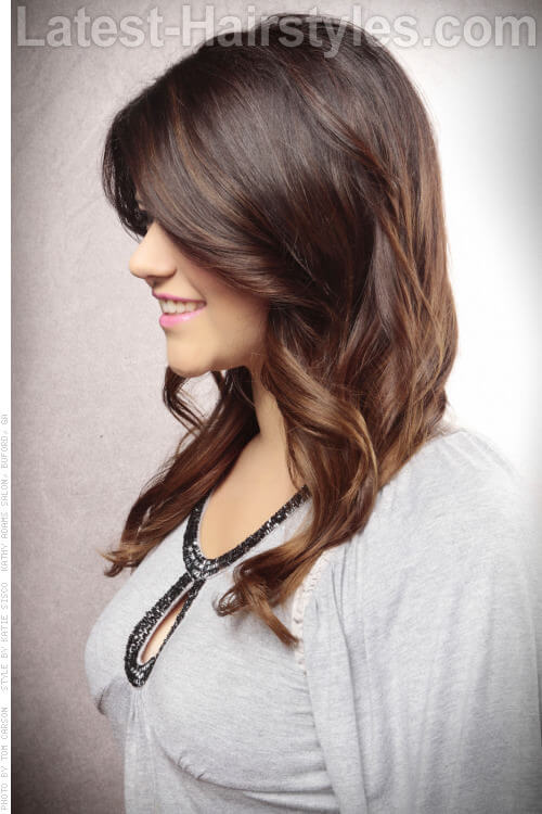 Brunette Ombre Hair Color Side View