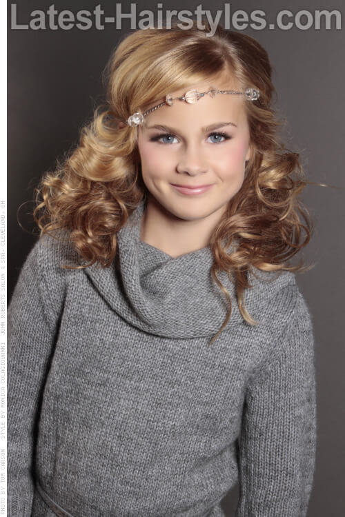 Cute Childrens Hairstyle with Headband and Curls