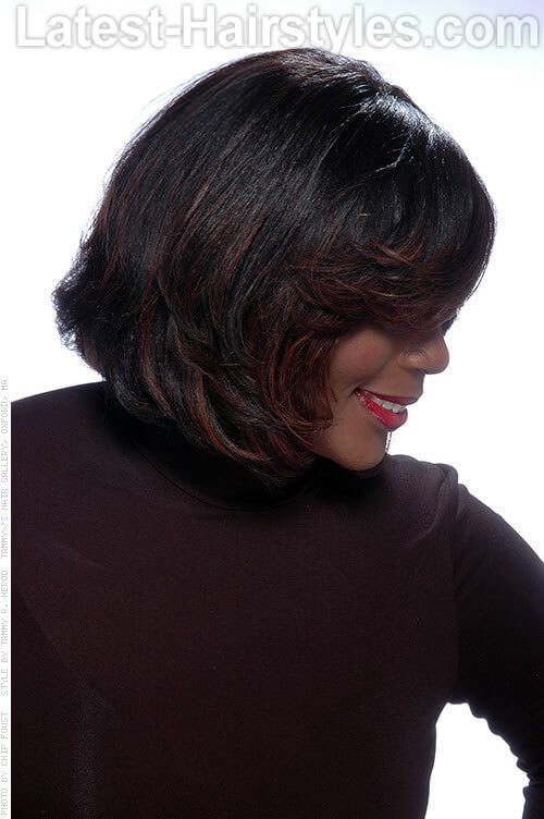 Dark Haircolor with Chocolate Highlights Side View