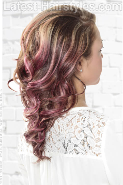 Hairstyle with Side Swept Curls Back View