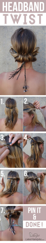 headband twist hair tutorial