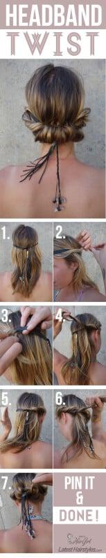 headband twist hair tutorial
