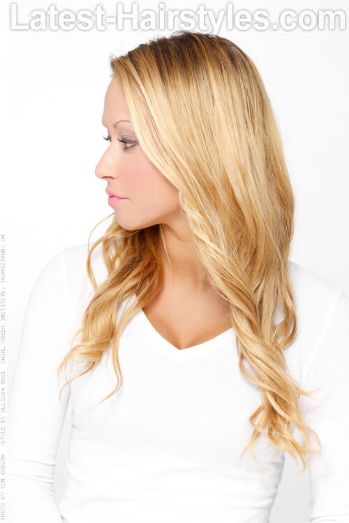 Long Blonde Hairstyle with Natural Darker Roots