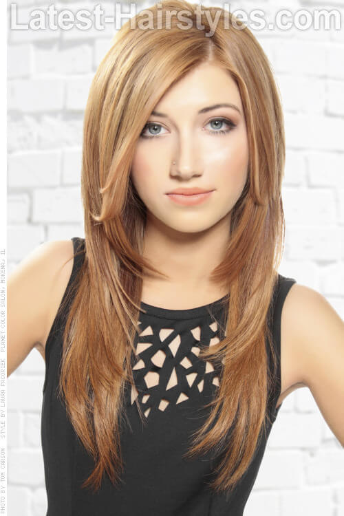 Long Straight Hairstyle with Bronde Color