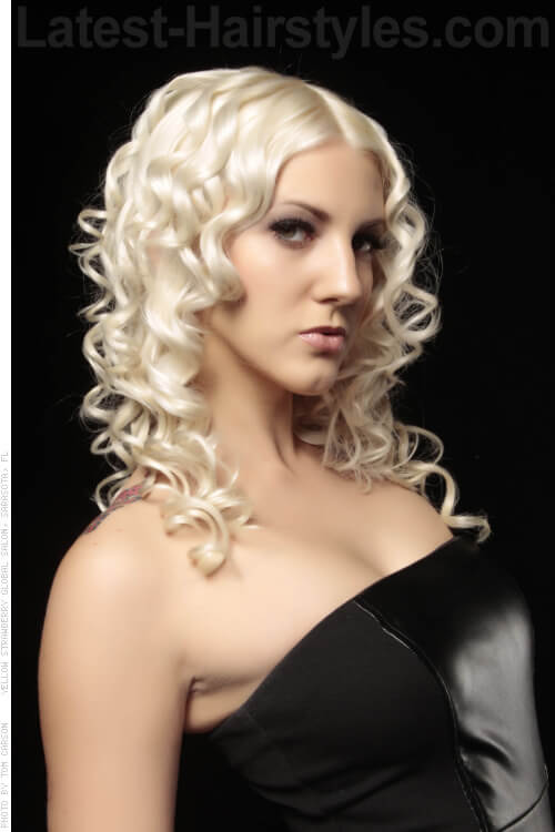 Platinum Blonde Hairstyle with Curls