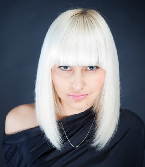 Platinum Blonde Medium Hairstyle with Heavy Lines