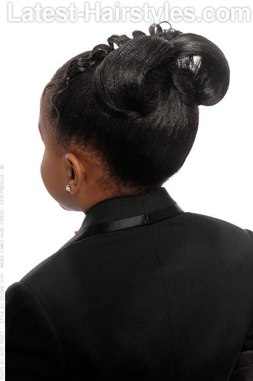 Ponytail with Loops and Curls Back View