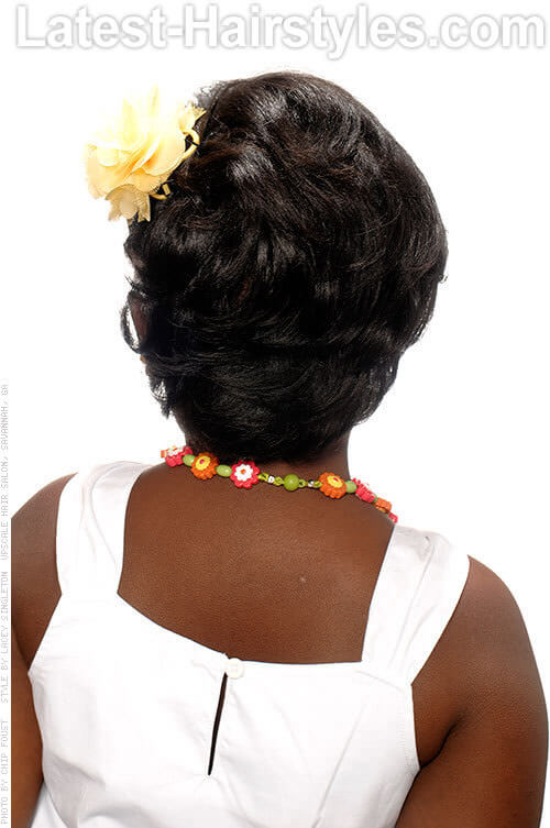 Short Hairstyle with Flower Accessory Back View
