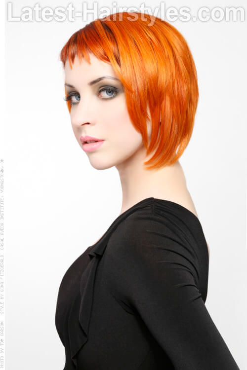 Short Undercut Hairstyle With Orange Color