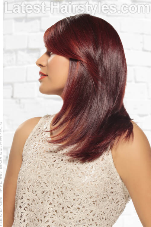 Vibrant Red Haircolor with Block Coloring Side View