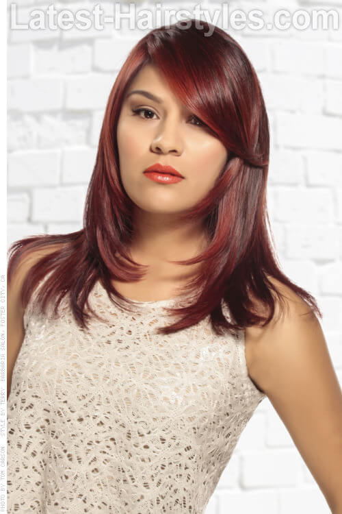 Vibrant Red Haircolor with Block Coloring