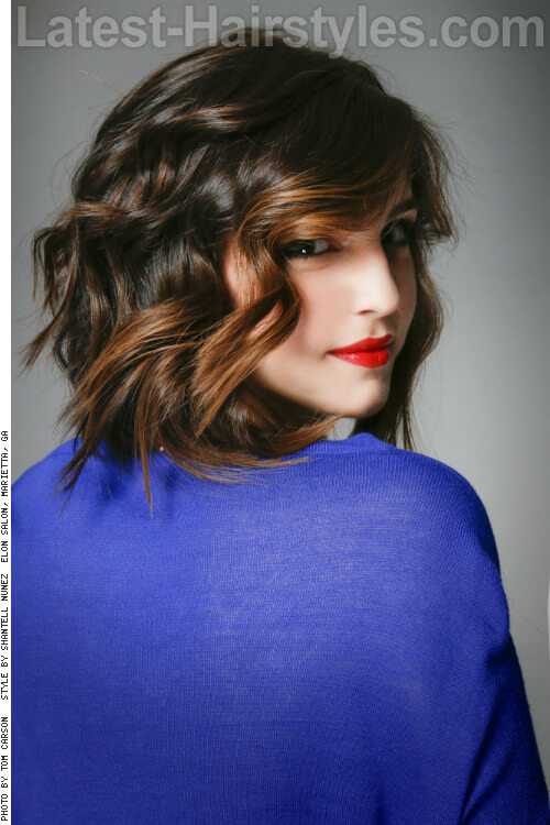 Wavy Long Bob Hairstyle for Fine Hair Side