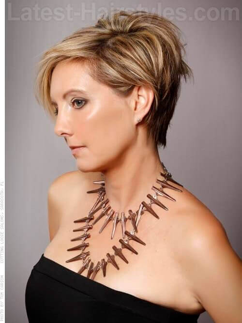 Beautiful Asymmetry Blonde Cut For Older Women Side View