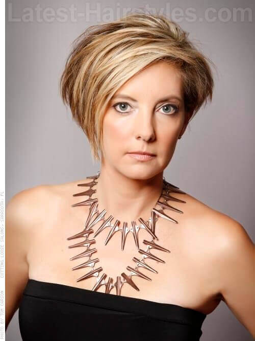 Beautiful Asymmetry Blonde Cut For Older Women