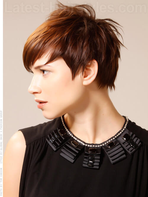 Bias Cut Wild Messy Pixie Hairstyle For Fine Hair Side View