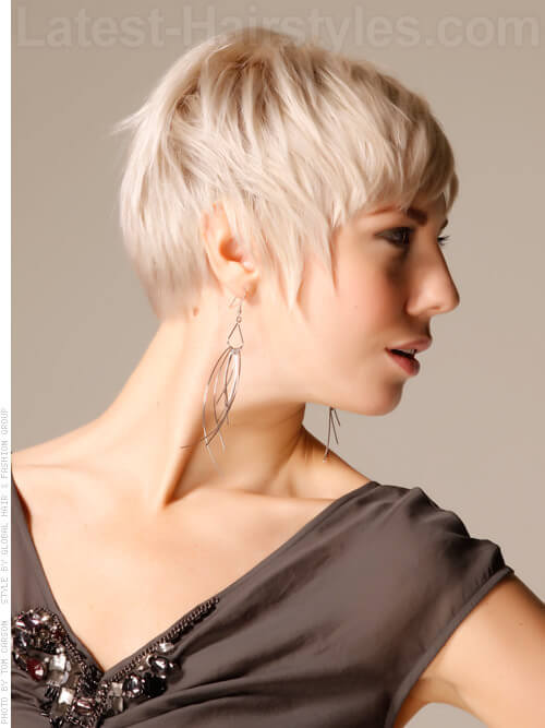 Blonde Funky Pixie Hairstyle For Fine Hair Side View