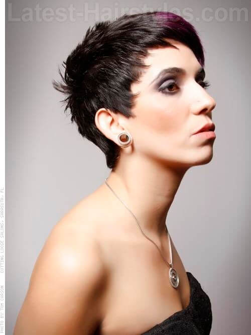 Edgy and Forward Pixie with Highlights Side View