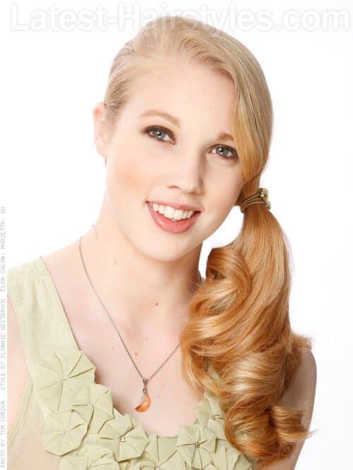 Strawberry Blonde Goldilocks Long Side Ponytail Front View