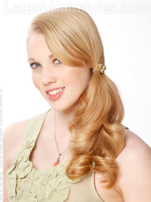 Strawberry Blonde Goldilocks Long Side Ponytail