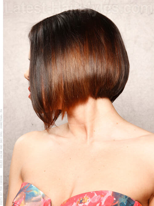 Low and Steep Angular Bob for Fine Hair Side View