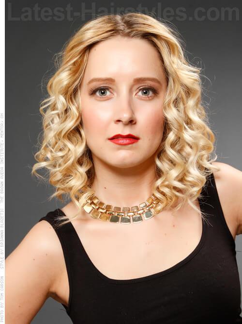 Medium Blonde Curls Center Part