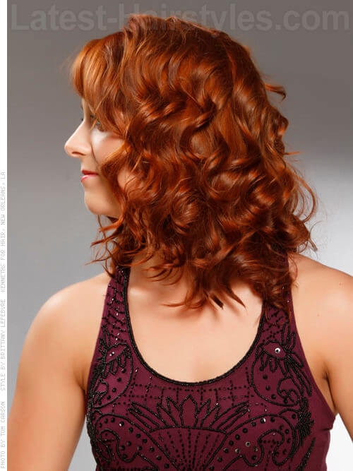 Naturally Curly Auburn Fine Hairstyle with Curls Side View