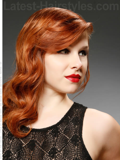 Old Cute Hollywood Waves Auburn Style