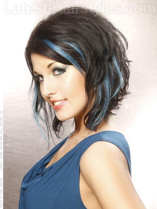 Peek A Blues Brunette Hairstyle with Blue Highlights Side View