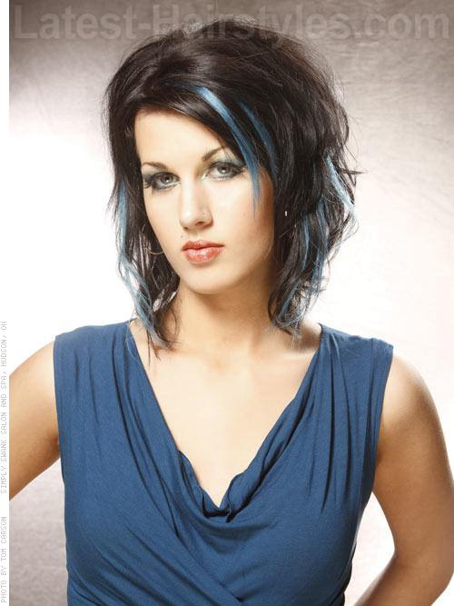Peek A Blues Brunette Style with Blue Highlights