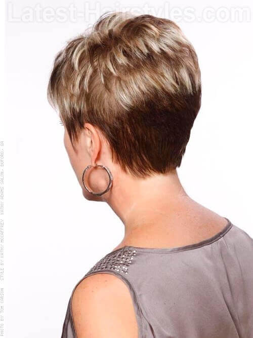 Perfect Pixie Blonde Highlights Back View