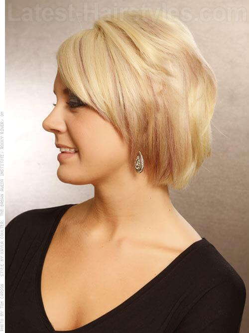 Pretty Pastel Short Blonde Hair Swept Off Face Side View