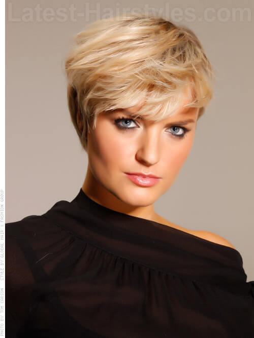 Pure Blonde Bangs Short Hairstyle For Older Women