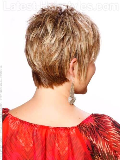 Short Blonde Pixie Wispy Short Hairstyle For Older Women Back View